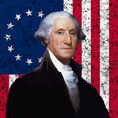 George Washington Digital Art - Washington And The American Flag by War Is Hell Store