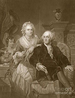 First-family Drawing - Washington At Home by Alonzo Chappel