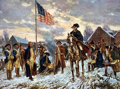 Flagpole Painting - Washington At Valley Forge by Unknown