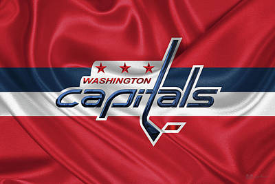 Digital Art - Washington Capitals - 3 D Badge Over Silk Flag by Serge Averbukh