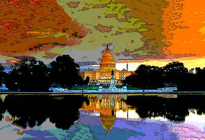 Jefferson Memorial Mixed Media - Washington Capitol At Sunset by Charles Shoup