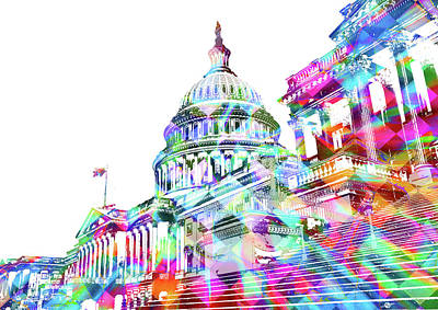Painting - Washington Capitol Color 2 by Tony Rubino