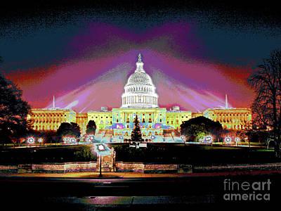 Washington Capitol Sunset Art Print by Larry Oskin