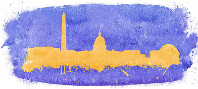 Beastie Boys - Washington city skyline on a purple background by Vyacheslav Isaev