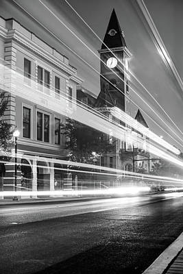 Photograph - Washington County Courthouse At Night Fayetteville Arkansas Black And White by Gregory Ballos