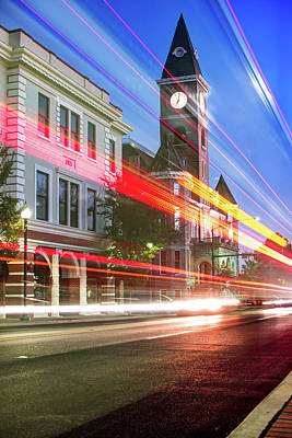 University Of Arkansas Photograph - Washington County Courthouse At Night Fayetteville Arkansas by Gregory Ballos