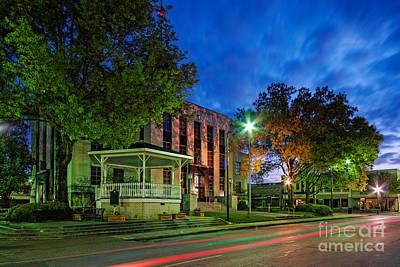 Washington County Courthouse At Twilight - Brenham Texas Art Print by Silvio Ligutti