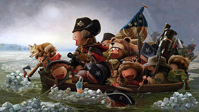 Redcoat Digital Art - Washington Crossing Delaware by HANGBoY