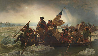 Continental Army Painting - Washington Crossing The Delaware Painting  by Emanuel Gottlieb Leutze