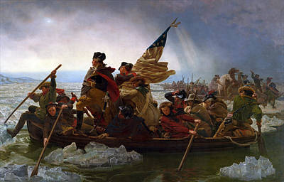 Landmarks Painting Royalty Free Images - Washington Crossing the Delaware Painting - Emanuel Gottlieb Leutze Royalty-Free Image by War Is Hell Store