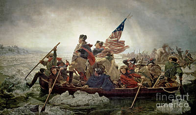 History Painting - Washington Crossing The Delaware River by Emanuel Gottlieb Leutze