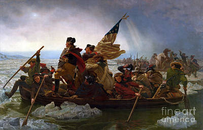 Battle Of Trenton Painting - Washington Crossing The Delaware River by Emmanuel Gottlieb Leutze