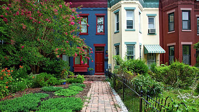 Upscale Photograph - Washington D C Row Houses by Mountain Dreams