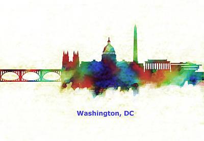 White House Painting - Washington D C Skyline  by Enki Art