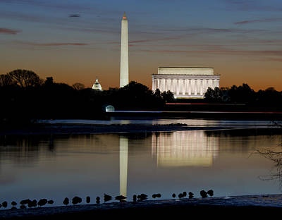 Washington Dc - Capitol - Washington Monument And Lincoln Memorial Art Print