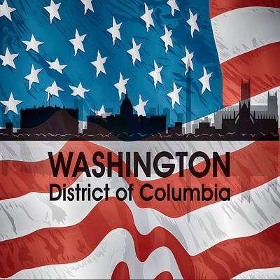 Digital Art - Washington Dc American Flag Squared by Angelina Vick
