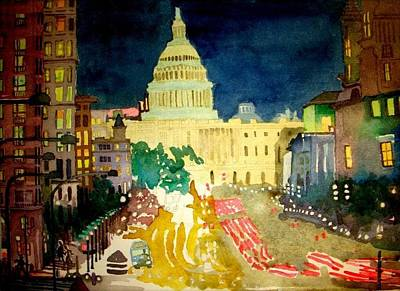 Capitol Building Painting - Washington D C At Night, Unfinished Business by Dennis Kearns