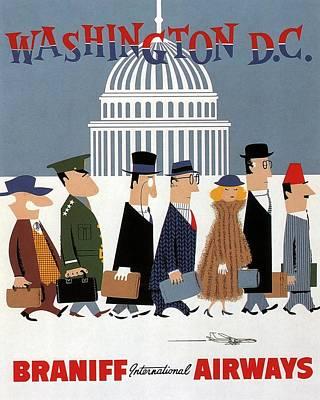 Airplane Mixed Media - Washington D.c - Braniff International Airways - Retro Travel Poster - Vintage Poster by Studio Grafiikka