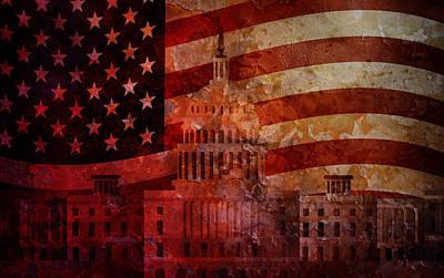 Representative Abstract Photograph - Washington Dc Capitol Us Flag Grunge Background by Jit Lim
