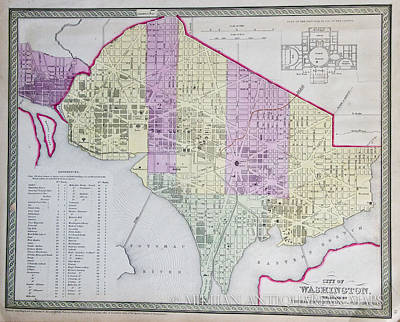 Old Map Drawing - Washington Dc by Celestial Images