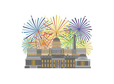 Digital Art - Washington Dc Monuments Landmarks And Fireworks Illustration by Jit Lim