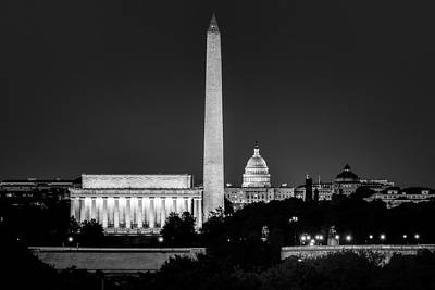 Photograph - Washington Dc Skyline At Night by Bill Dodsworth