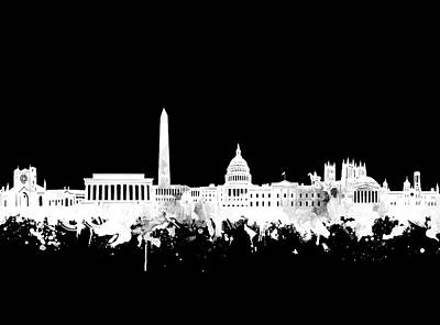 Digital Art - Washington Dc Skyline Black And White 2 by Bekim Art