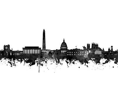 Digital Art - Washington Dc Skyline Black And White by Bekim Art
