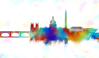 White House Painting - Washington Dc Skyline Color 2 by Enki Art