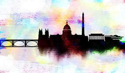 White House Painting - Washington Dc Skyline Color  by Enki Art