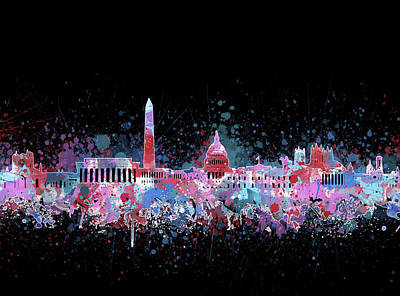 Abstract Skyline Royalty-Free and Rights-Managed Images - Washington Dc Skyline Color Splatter 3 by Bekim Art