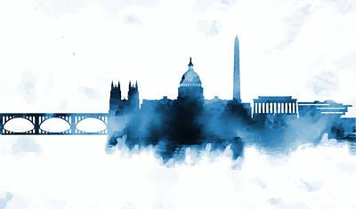 White House Painting - Washington Dc Skyline by Enki Art