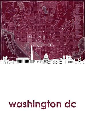 Photograph - Washington Dc Skyline Map 3 by Bekim Art