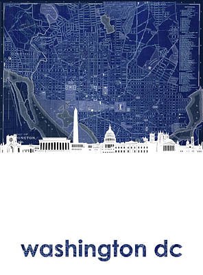 Digital Art - Washington Dc Skyline Map 4 by Bekim Art