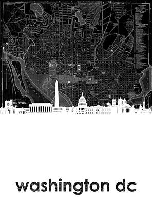 Digital Art - Washington Dc Skyline Map 5 by Bekim Art