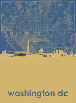 Abstract Skyline Royalty-Free and Rights-Managed Images - Washington Dc Skyline Map2 by Bekim Art