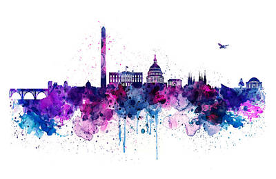 Digitally Generated Mixed Media - Washington Dc Skyline by Marian Voicu