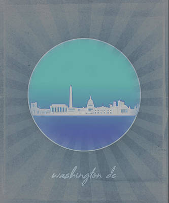 Abstract Skyline Royalty-Free and Rights-Managed Images - Washington Dc Skyline Minimalism 12 by Bekim Art