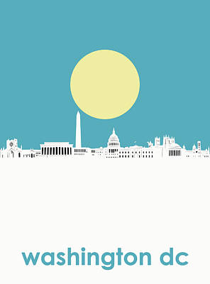 Abstract Skyline Royalty-Free and Rights-Managed Images - Washington Dc Skyline Minimalism 2 by Bekim Art