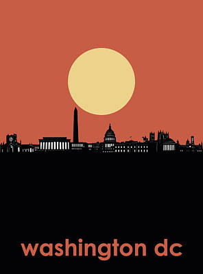 Abstract Skyline Royalty-Free and Rights-Managed Images - Washington Dc Skyline Minimalism 3 by Bekim Art
