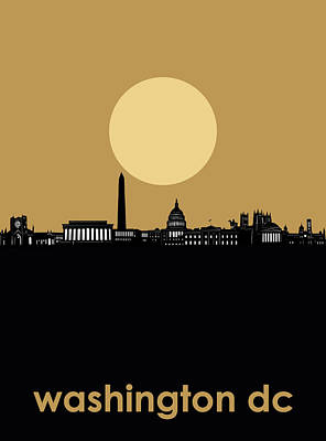 Abstract Skyline Royalty-Free and Rights-Managed Images - Washington Dc Skyline Minimalism 5 by Bekim Art