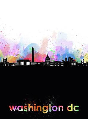 Digital Art - Washington Dc Skyline Minimalism 6 by Bekim Art