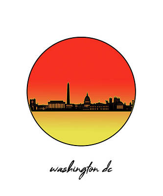 Abstract Skyline Royalty-Free and Rights-Managed Images - Washington Dc Skyline Minimalism 9 by Bekim Art