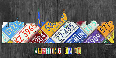 Washington Monument Mixed Media - Washington Dc Skyline Recycled Vintage License Plate Art by Design Turnpike