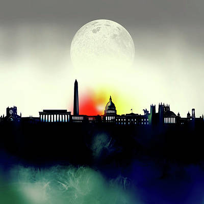 Abstract Skyline Royalty-Free and Rights-Managed Images - Washington Dc Skyline Surrealism 2 by Bekim Art
