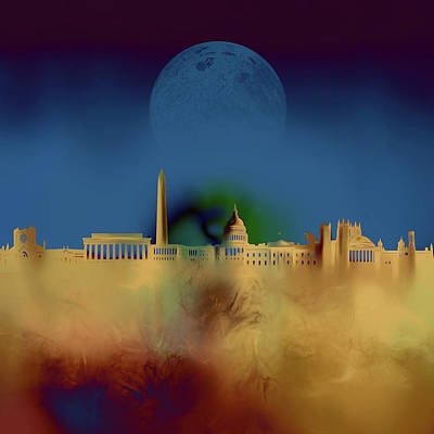 Abstract Skyline Royalty-Free and Rights-Managed Images - Washington Dc Skyline Surrealism 3 by Bekim Art