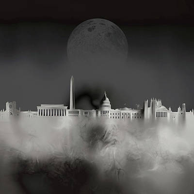 Digital Art - Washington Dc Skyline Surrealism 4 by Bekim Art