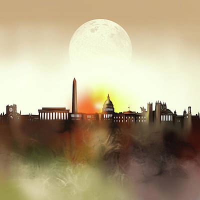 Abstract Skyline Royalty-Free and Rights-Managed Images - Washington Dc Skyline Surrealism by Bekim Art