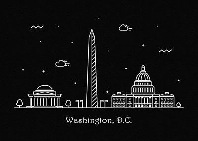 Drawing - Washington D.c. Skyline Travel Poster by Inspirowl Design