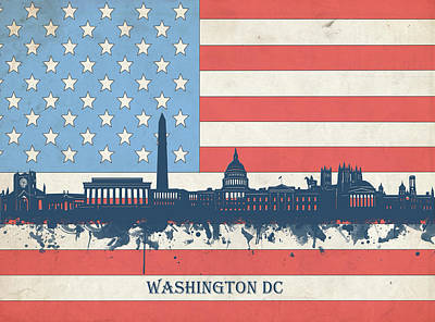 Abstract Skyline Royalty-Free and Rights-Managed Images - Washington Dc Skyline Usa Flag 3 by Bekim M